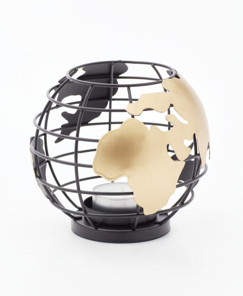 Świecznik metalowy globus
