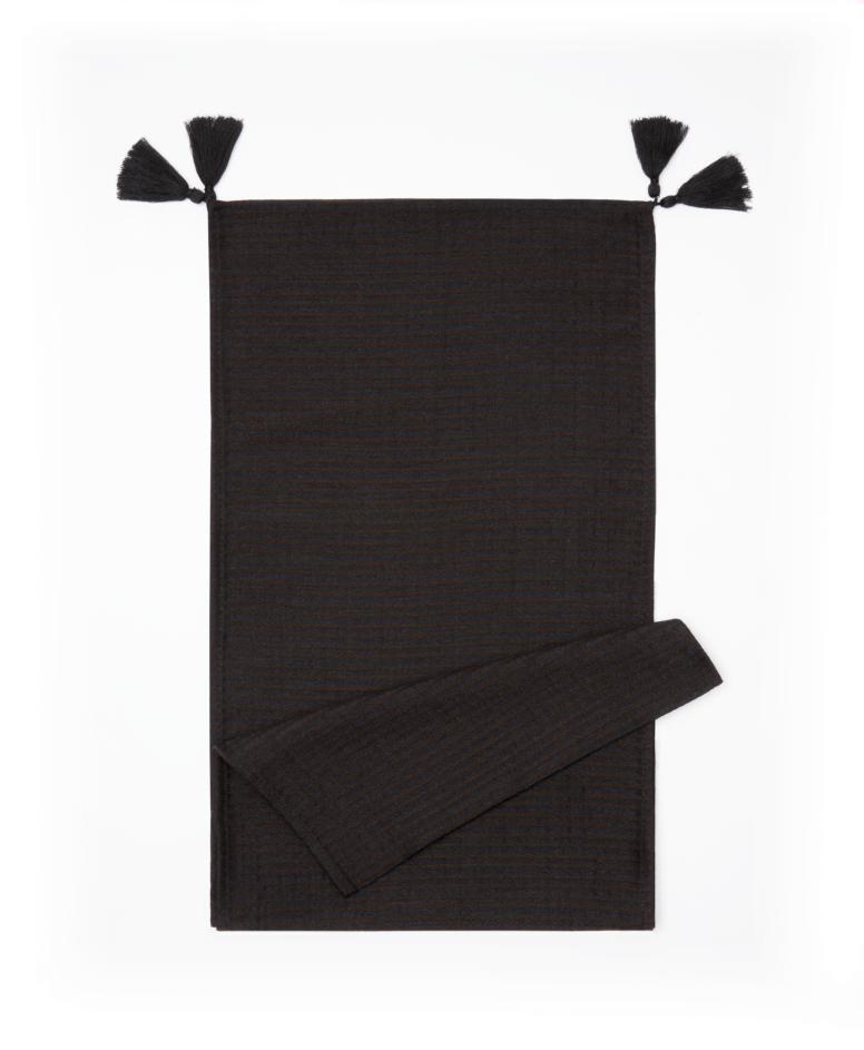 Bieżnik na stół 100% bawełny, czarny, wymiary: 35 x 180 cm