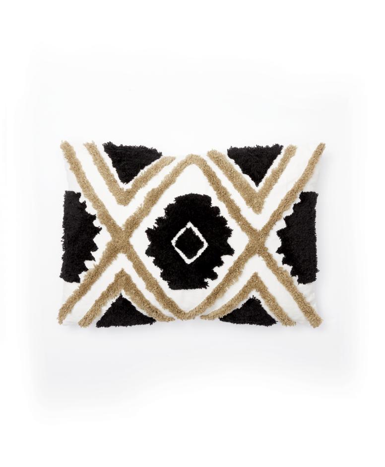 Poduszka, czarna, beżowa, biała, wymiary: 35 x 50 cm