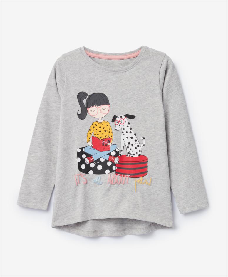 Koszulka dziewczęca, szara, rozmiary: 104-134 cm