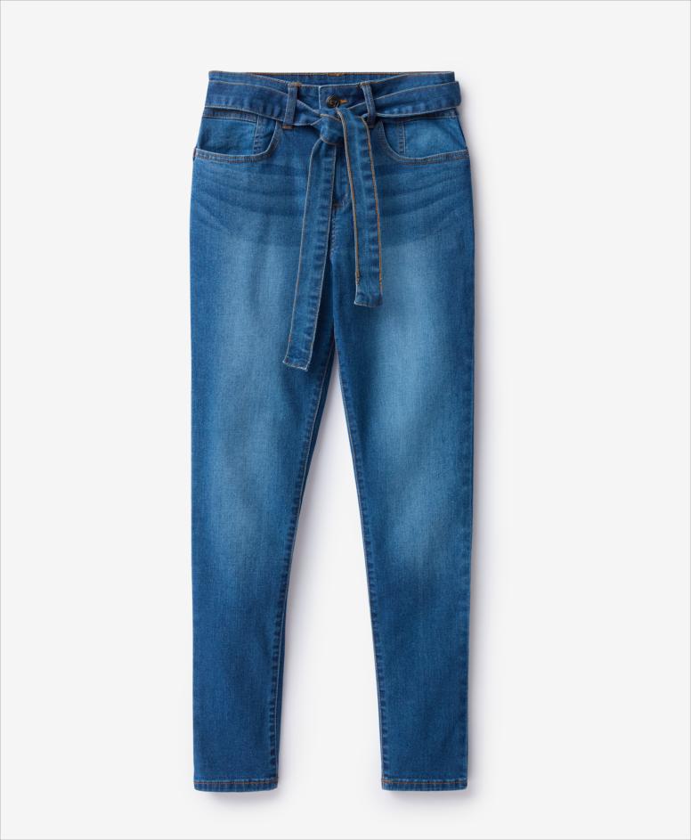 Dżinsy z wiązaniem w pasie, niebieskie, rozmiary: 36-44