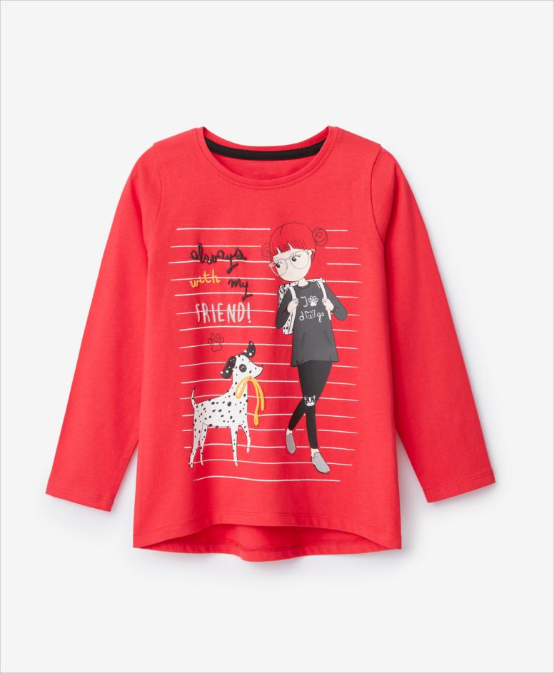 Koszulka dziewczęca, czerwona, rozmiary: 104-134 cm
