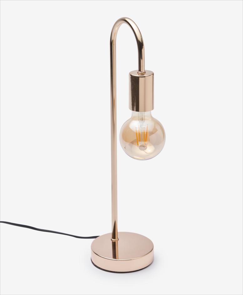 Lampa stołowa z dekoracyjną żarówką, kolor złoty, wymiary: 12 x 16,5 x 47 cm