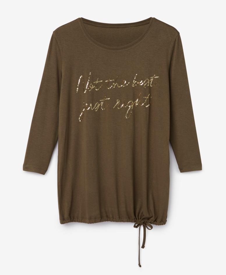 Koszulka z napisem z cekinów, khaki, rozmiary: S-XXXL