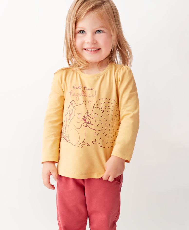 Koszulka 100% bawełny niemowlęca, dziewczęca, zółta, rozmiary: 80-98 cm