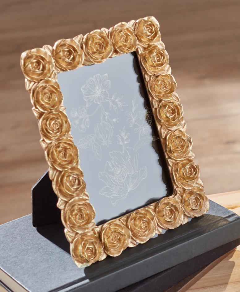 Ramka z motywem złotych róż, złota