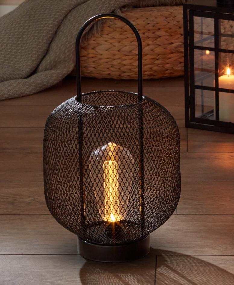 Latarnia LED metalowa, czarna, ø 19 cm, wys. 36 cm,