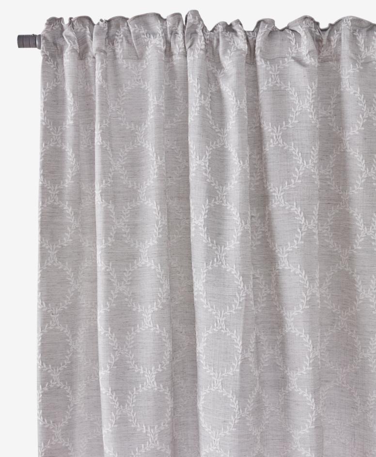 Zasłona z żakardowym wzorem, szara, wymiary: 140 x 260 cm