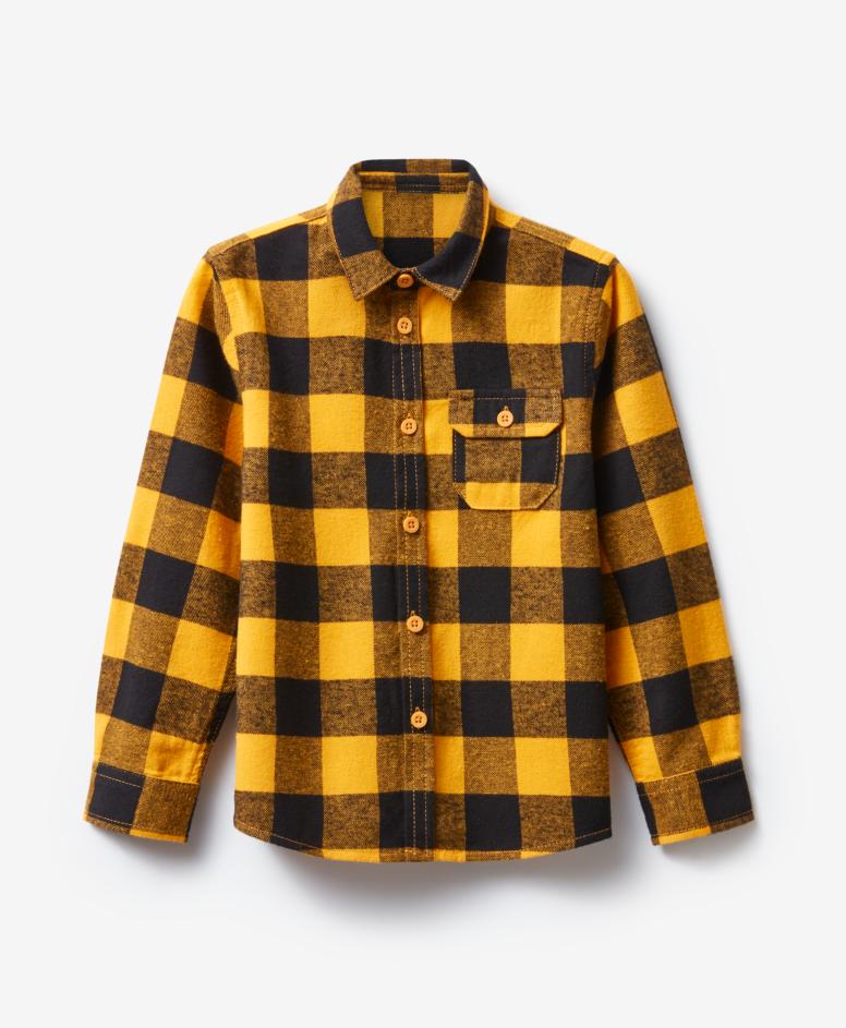 Koszula 100% bawełny chłopięca, kolor żółty, czarny, rozmiary: 104-134 cm