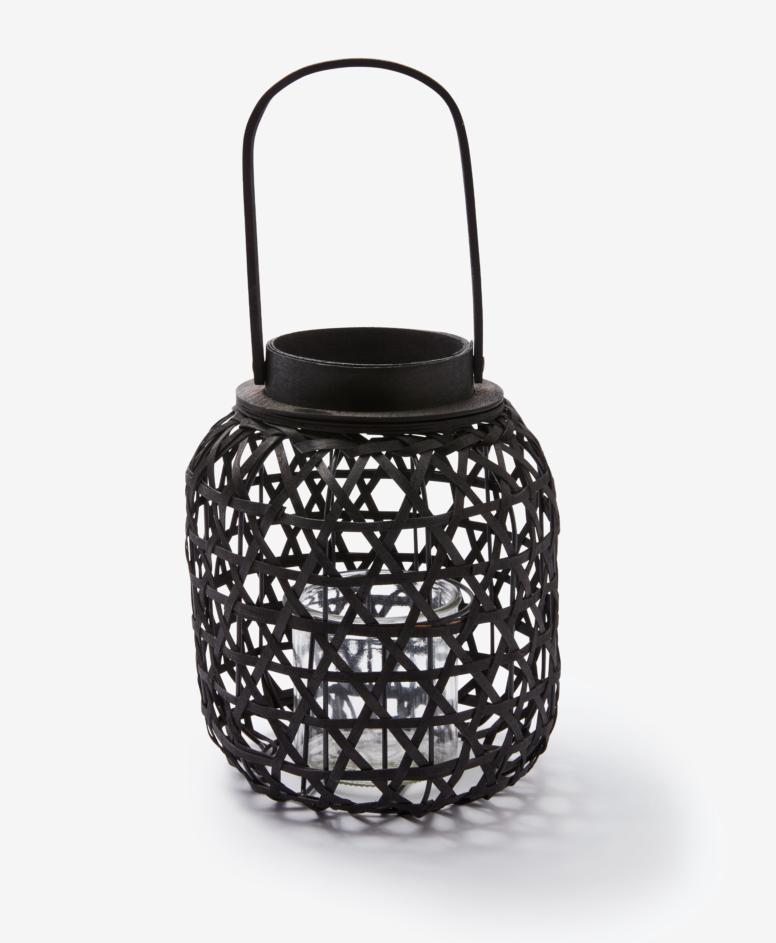 Latarnia z osłoną na świecę, kolor czarny, ø 21 cm, wys. 24,5 cm