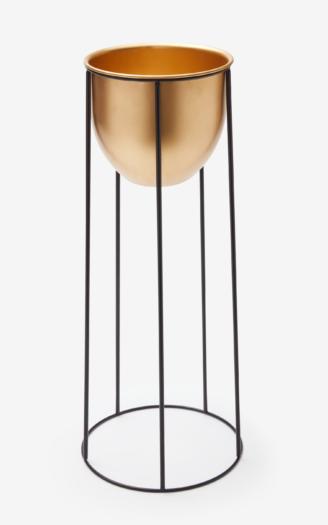Kwietnik metalowy, kolor złoty, wymiary: ø 25 cm, wys. 55 cm