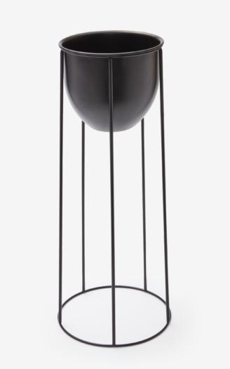 Kwietnik metalowy, kolor czarny, wymiary: ø 25 cm, wys. 55 cm