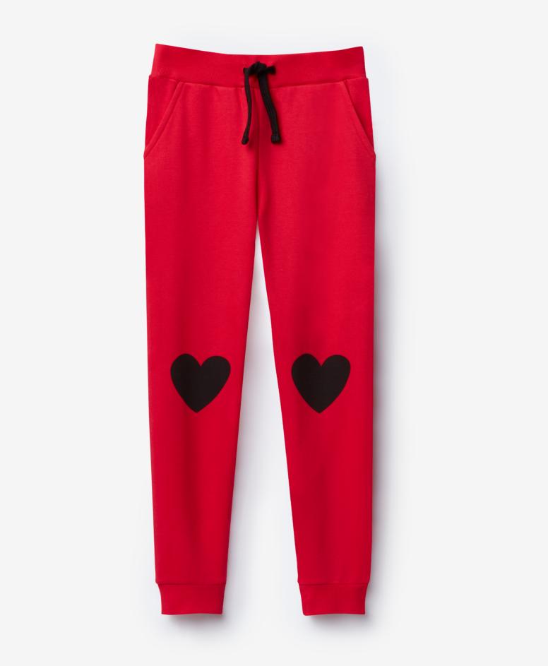 Spodnie dresowe dziewczęce, kolor czerwony, rozmiary: 104-134 cm