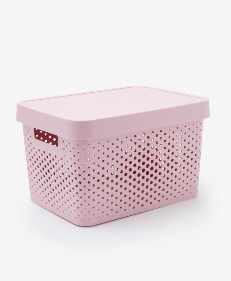Pojemnik z pokrywą, kolor różowy, 17 l