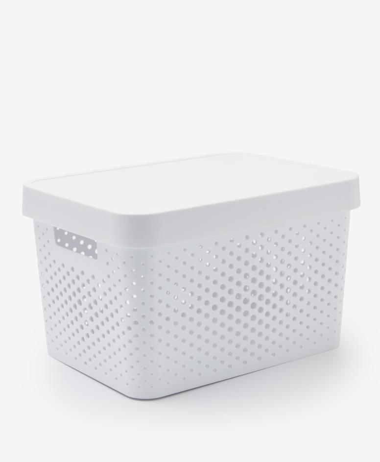 Pojemnik z pokrywą, kolor biały, 17 l