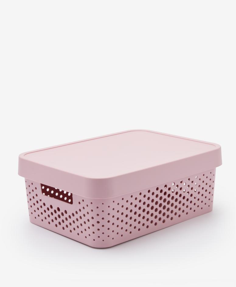 Pojemnik z pokrywą, kolor różowy, 11 l