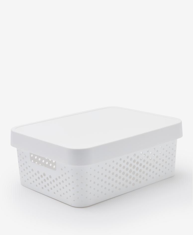 Pojemnik z pokrywą, kolor biały, 11 l