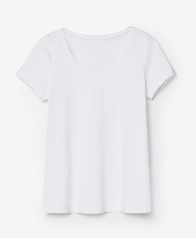 Koszulka z dekoltem V, kolor biały, rozmiary: S-XXL