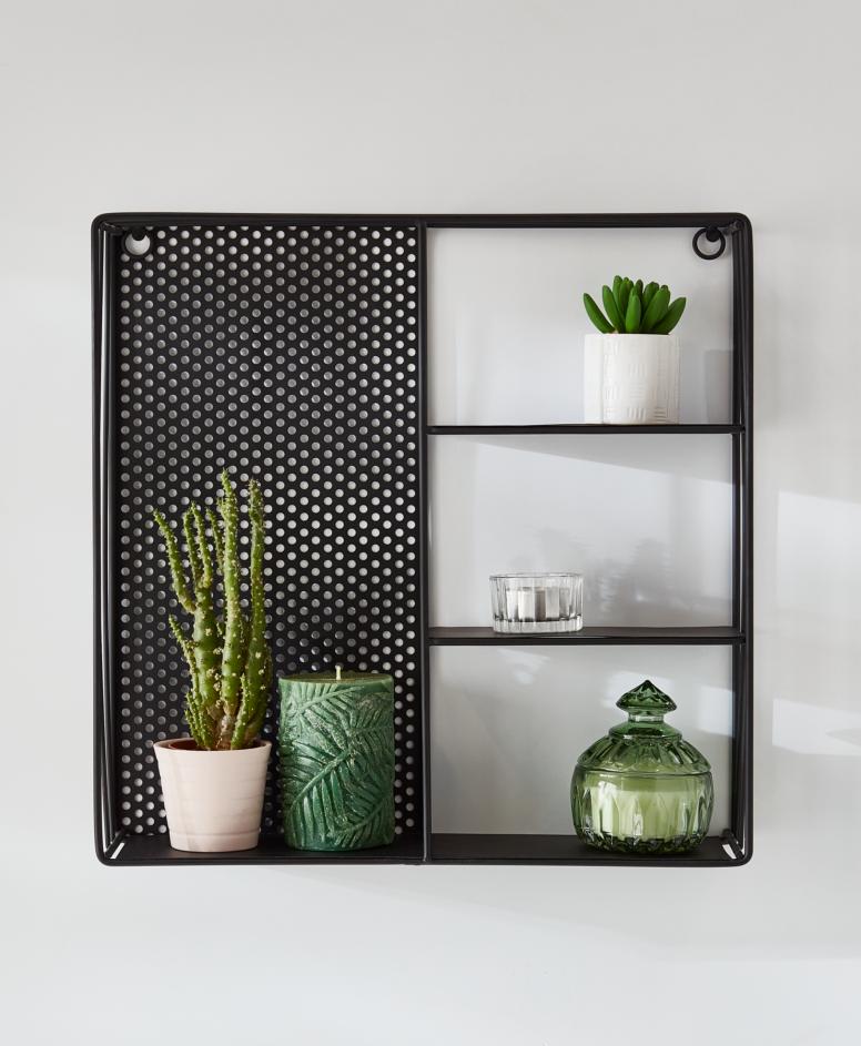 Półka metalowa , kolor czarny, wymiary: 37 x 37 x 9 cm