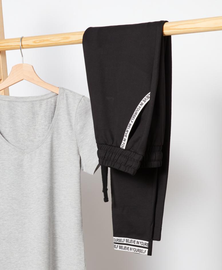 Spodnie dresowe100% bawełny z wiązaniem w pasie, kolor czarny, rozmiary: S-XXL