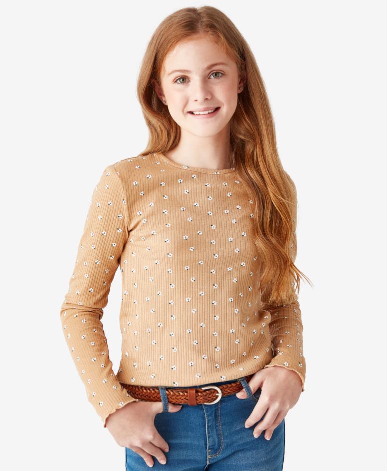 Koszulka dziewczęca, kolor nugatowy, rozmiary:134-170 cm