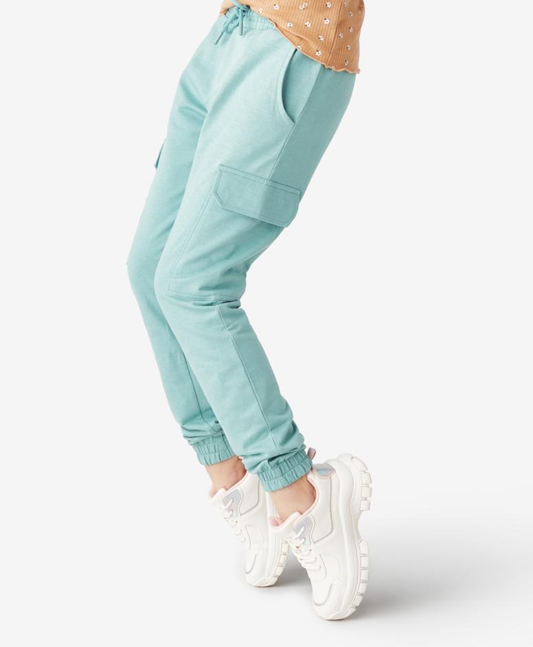 Spodnie dresowe 100% bawełny dziewczęce, kolor turkusowy, rozmiary:134-170 cm
