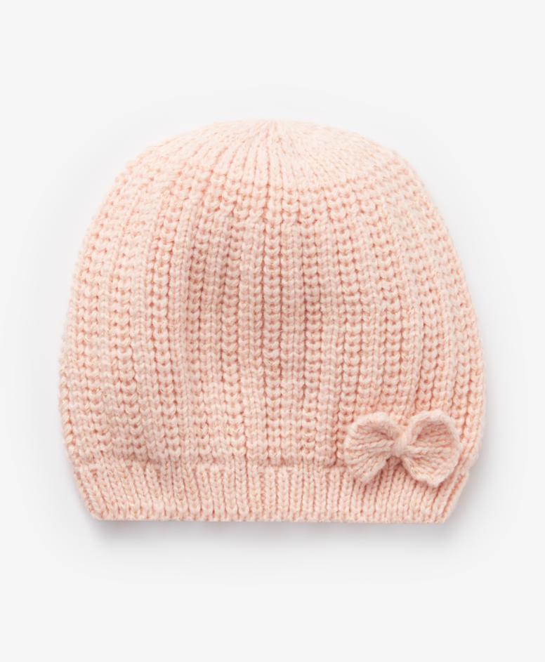 Czapka dziewczęca, kolor różowy, obwód: 52-56 cm