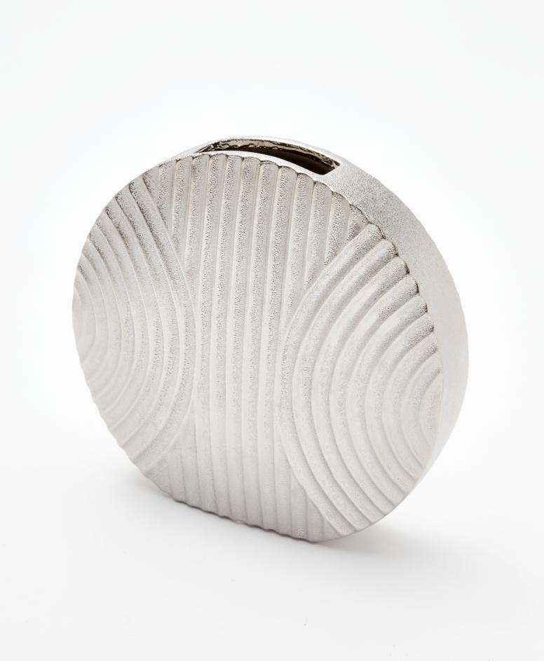 Wazon ceramiczny, kolor srebrny, wymiary: 25 x 23,5 cm