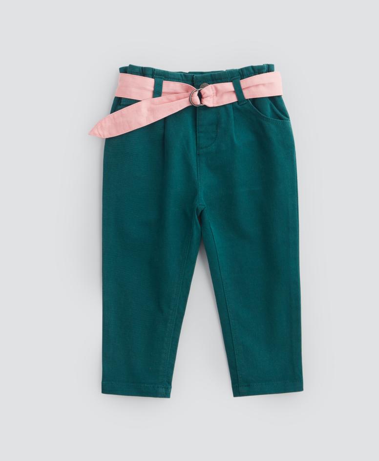 Spodnie niemowlęce, dziewczęce, kolor morski, rozmiary: 80-98 cm