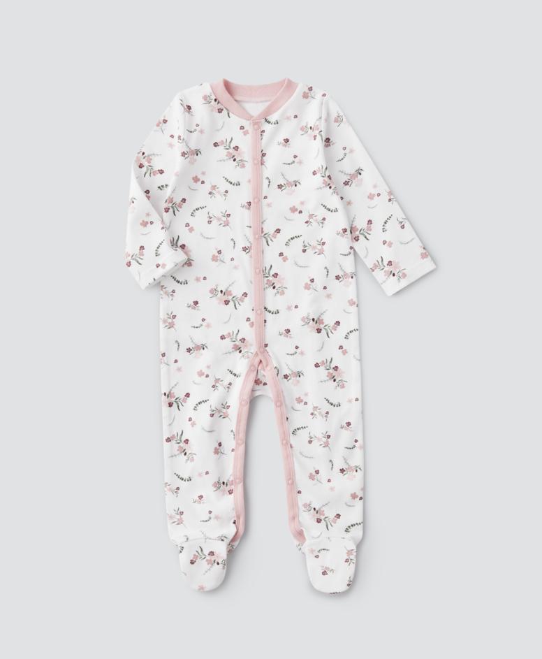 Pajac organicznej niemowlęcy, dziewczęcy, kolor biały, rozmiary: 62-92 cm