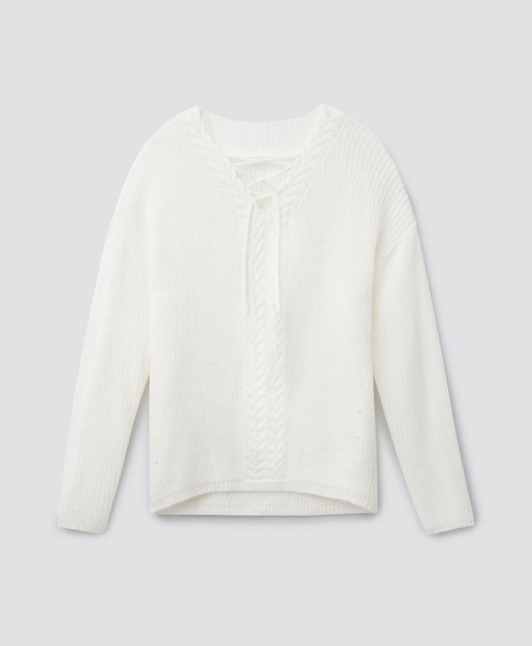 Sweter z przeplotem, kolor biały, rozmiary: S-XXL