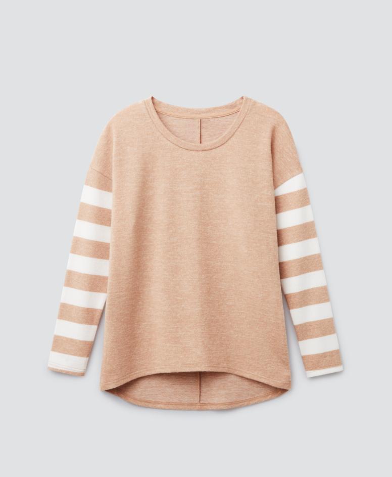 Sweter z rękawami, kolor nugatowy, rozmiary: S-XXXL