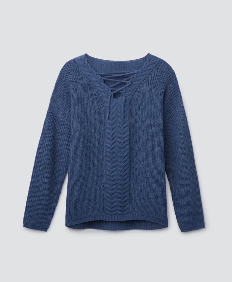 Sweter z przeplotem, kolor niebieski, rozmiary: S-XXL