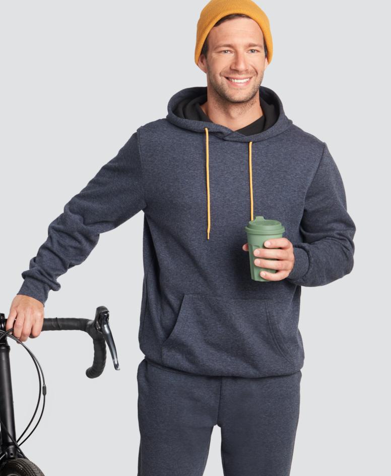 Bluza z kapturem z kieszenią kangurką, kolor ciemny szary, rozmiary: M-XXL