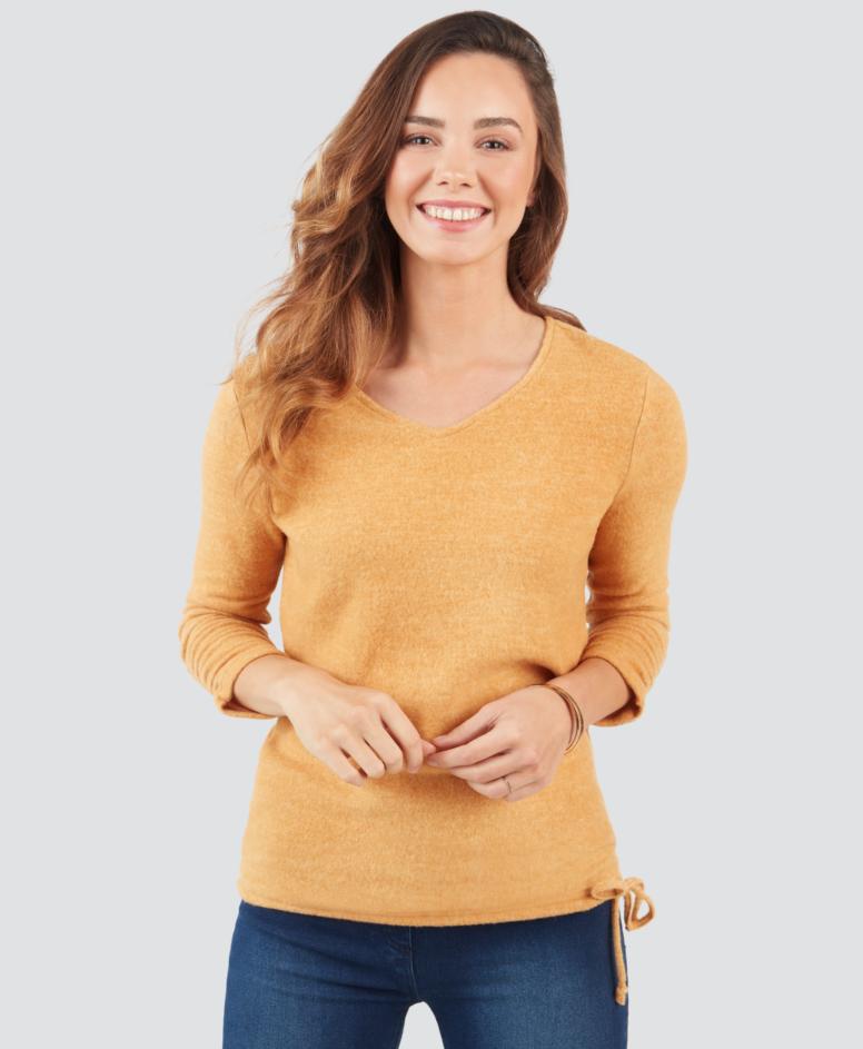 Sweter z dekoltem V, kolor beżowy, rozmiary: S-XXXL