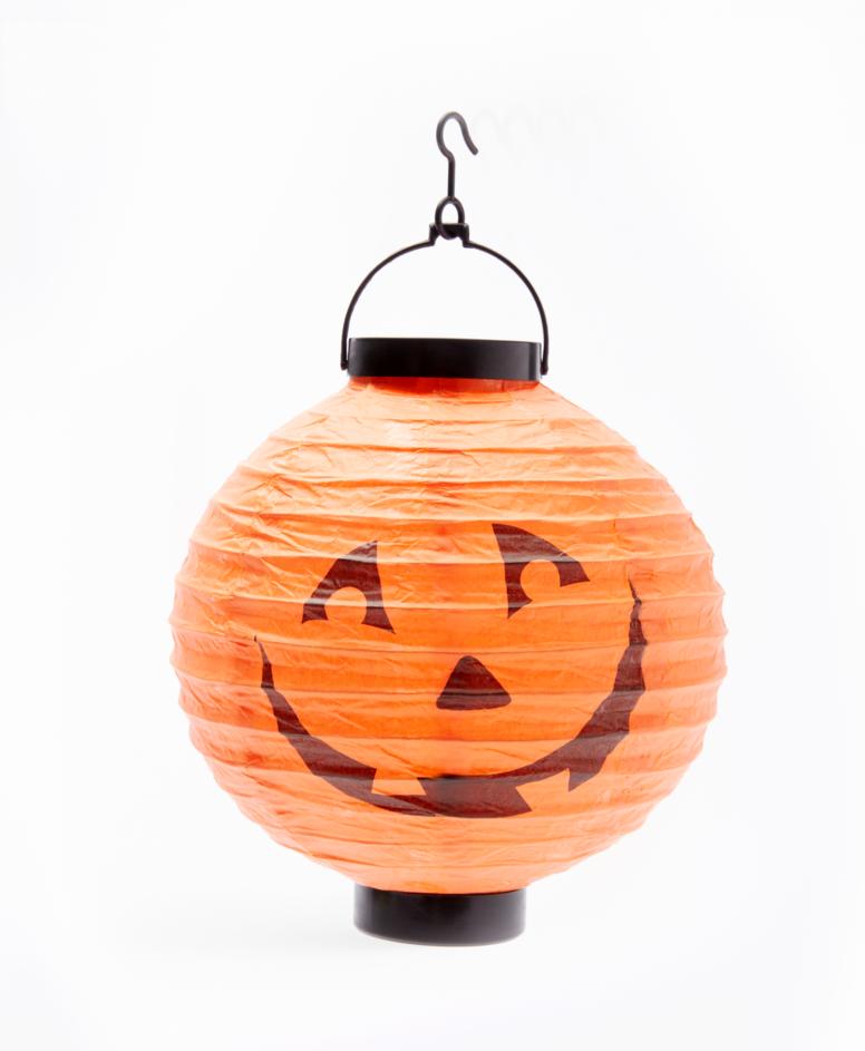 Lampion na Halloween papierowy, kolor pomarańczowy, ø 20,5 cm