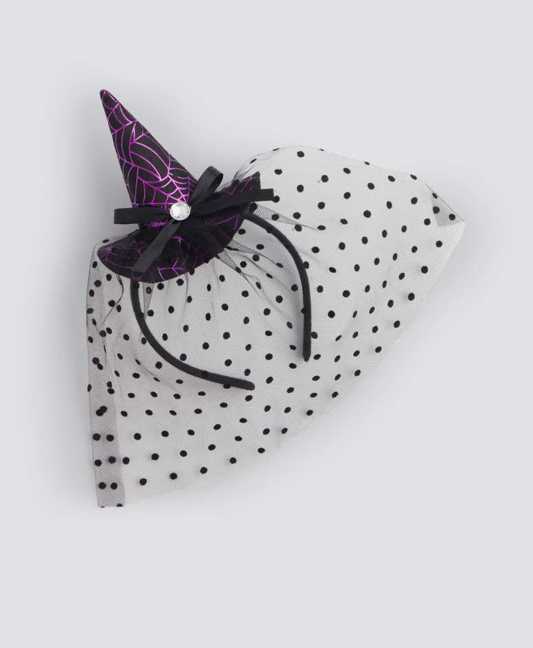Opaska na głowę na Halloween z kapeluszem, kolor czarny, wymiary: 25,5 x 16 cm