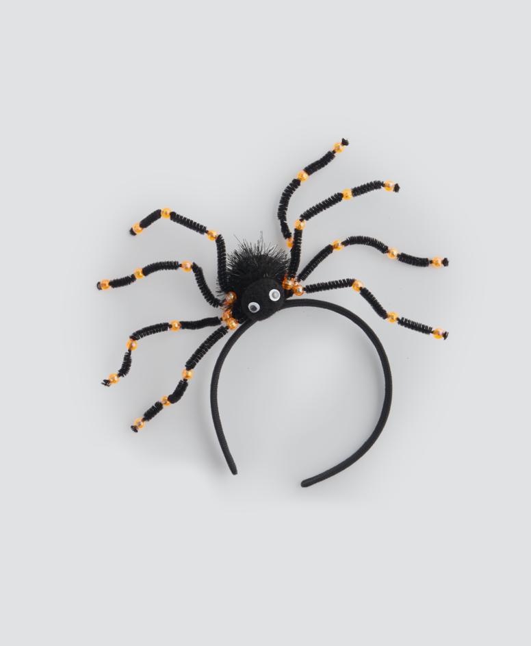 Opaska na głowę na Halloween z pająkiem, kolor czarny, wymiary: 23 x 13 cm