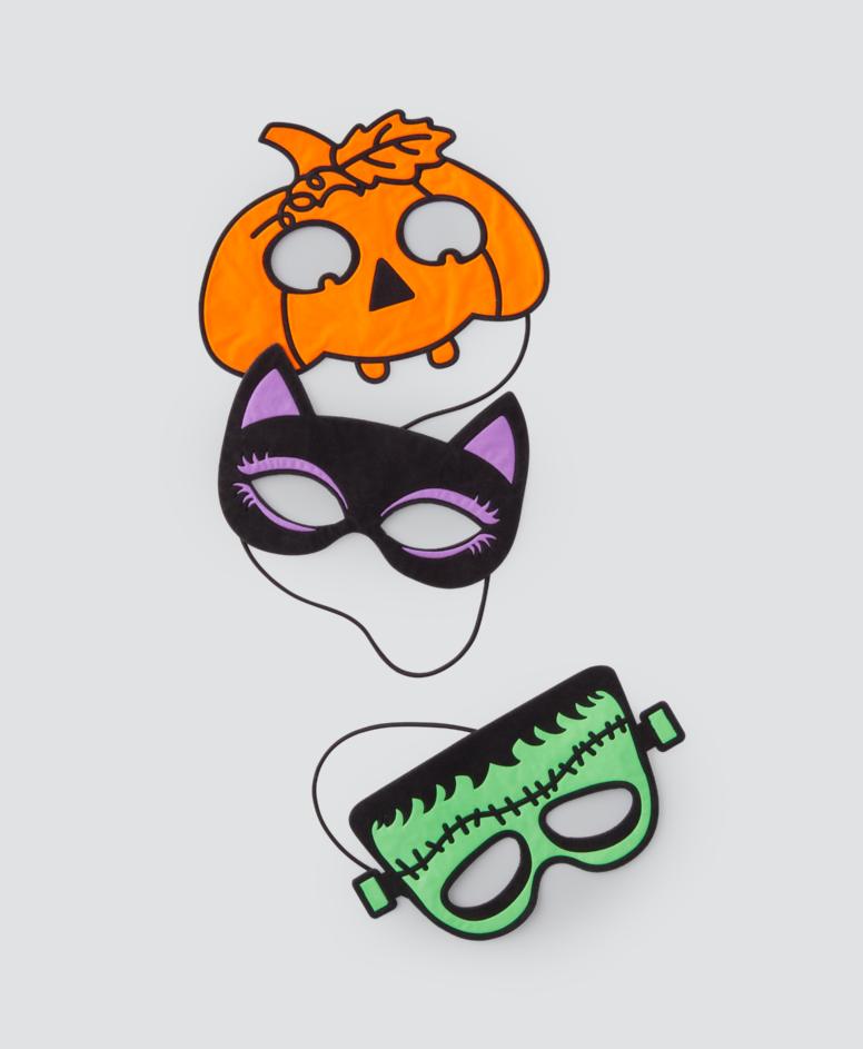 Maska na Halloween różne wzory, kolor pomarańczowy, granatowy, zielony, rozmiar uniwersalny