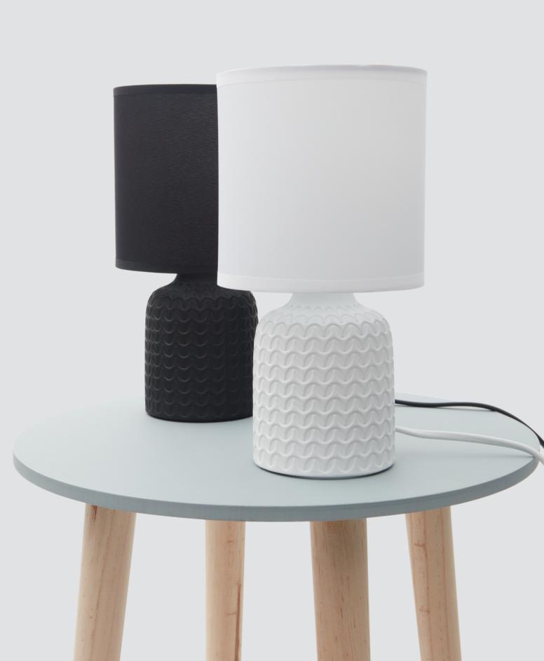 Lampa stołowa ceramiczna, kolor biały, ø 12,5 cm, wys. 23 cm