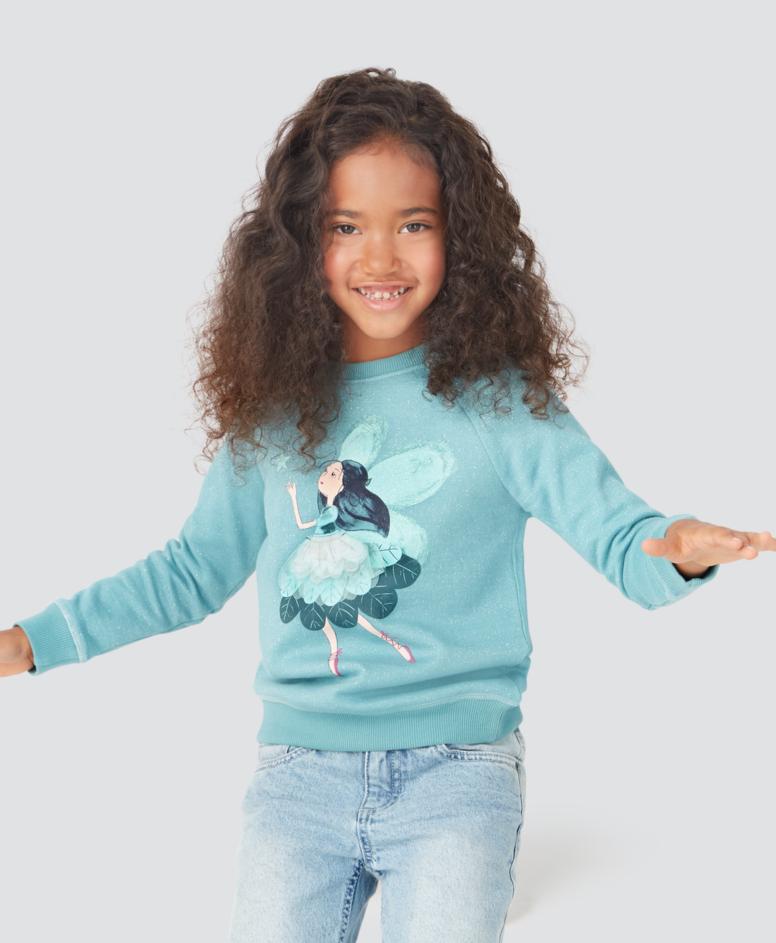 Bluza dziewczęca, kolor niebieski, rozmiary: 104-134 cm