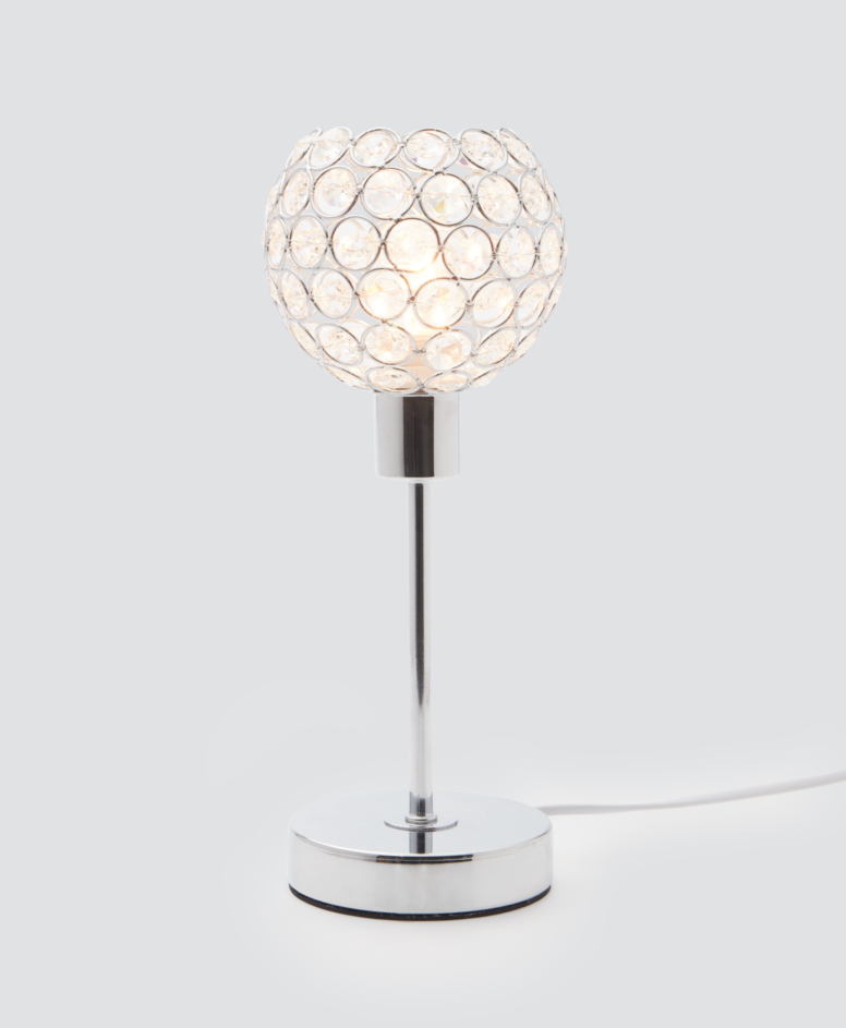 Lampa stołowa w stylu glamour, kolor srebrny, ø 12 cm, wys. 25 cm