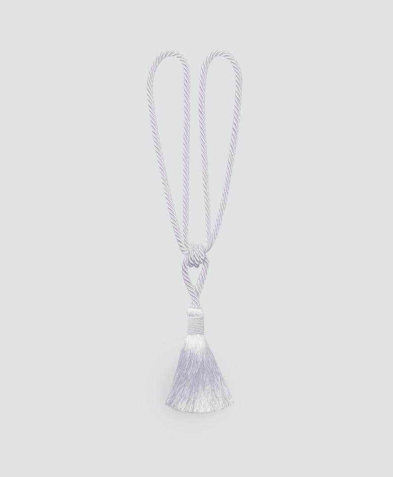 Sznur do zasłon z frędzlem, kolor srebrny