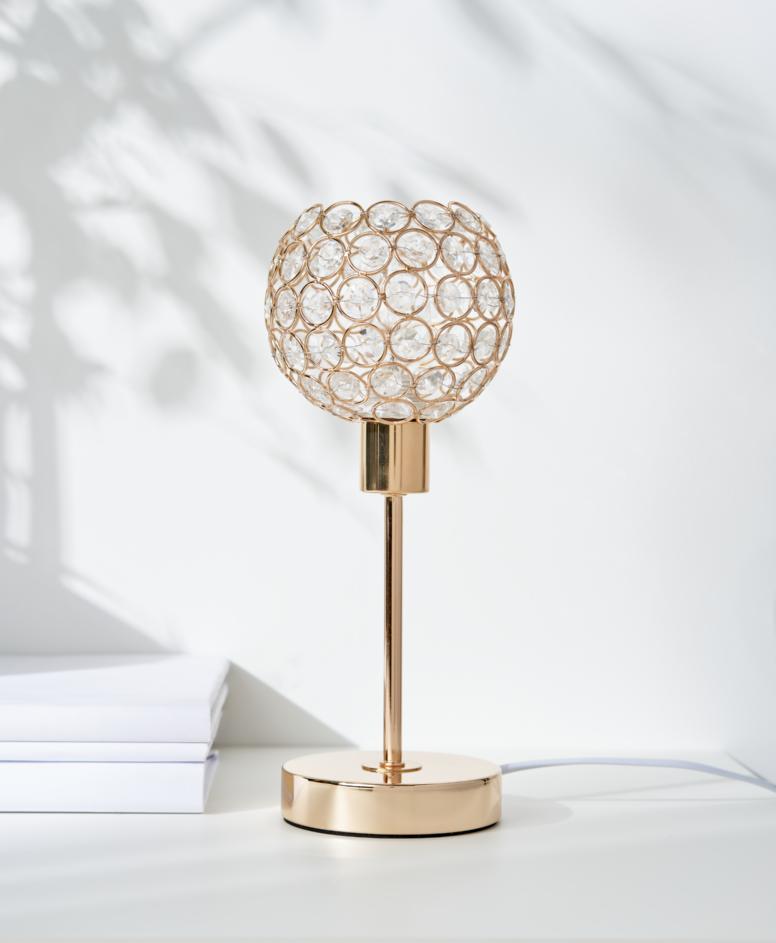 Lampa stołowa w stylu glamour, kolor złoty, ø 12 cm, wys. 25 cm
