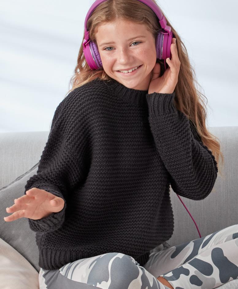 Sweter dziewczęcy, kolor czarny, rozmiary: 134-170 cm
