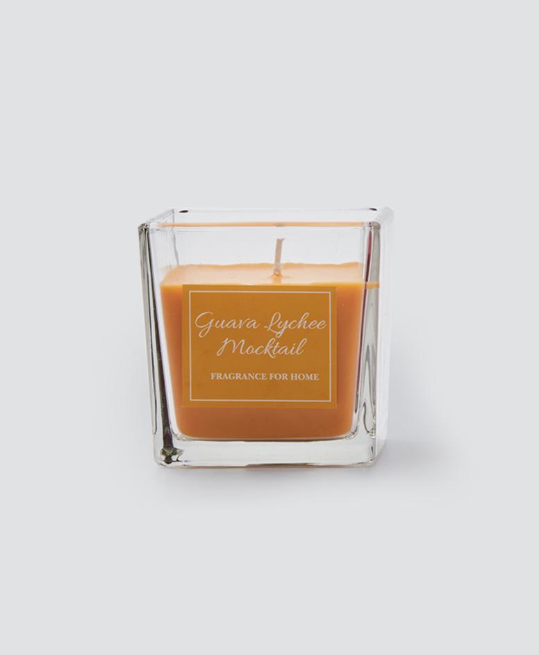 Świeca zapachowa w pojemniku, kolor zółty, 8 x 8 x 8 cm