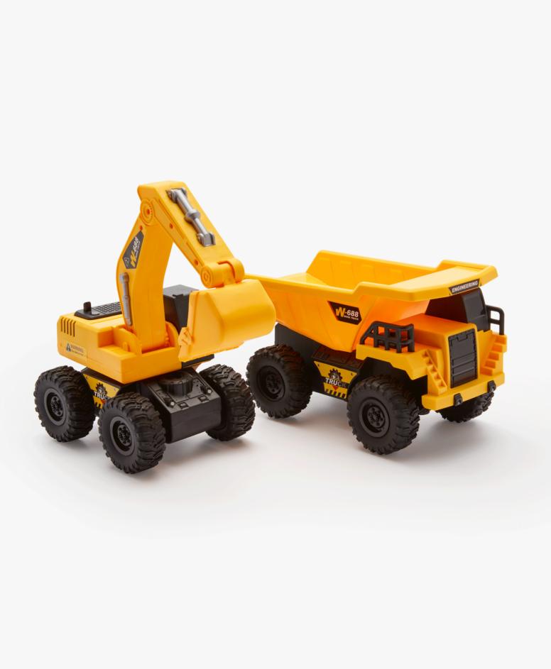 Pojazd budowlany z ruchomymi elementami, kolor żółty