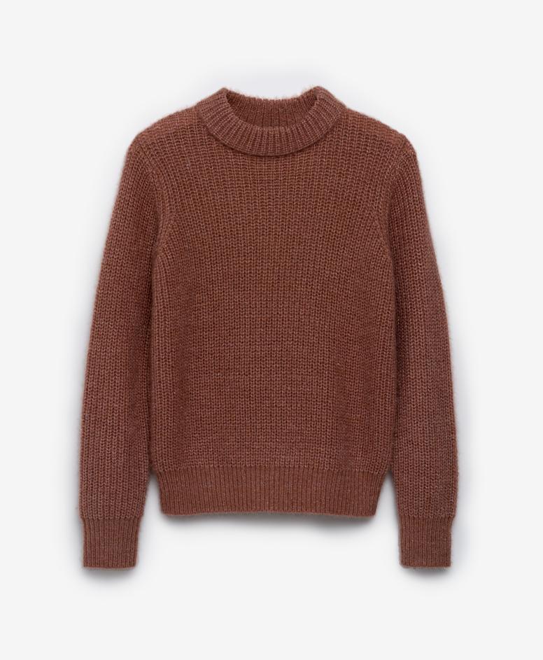 Džemper za devojčice, sa rolkom, kestenasta, veličine: 134-170 cm