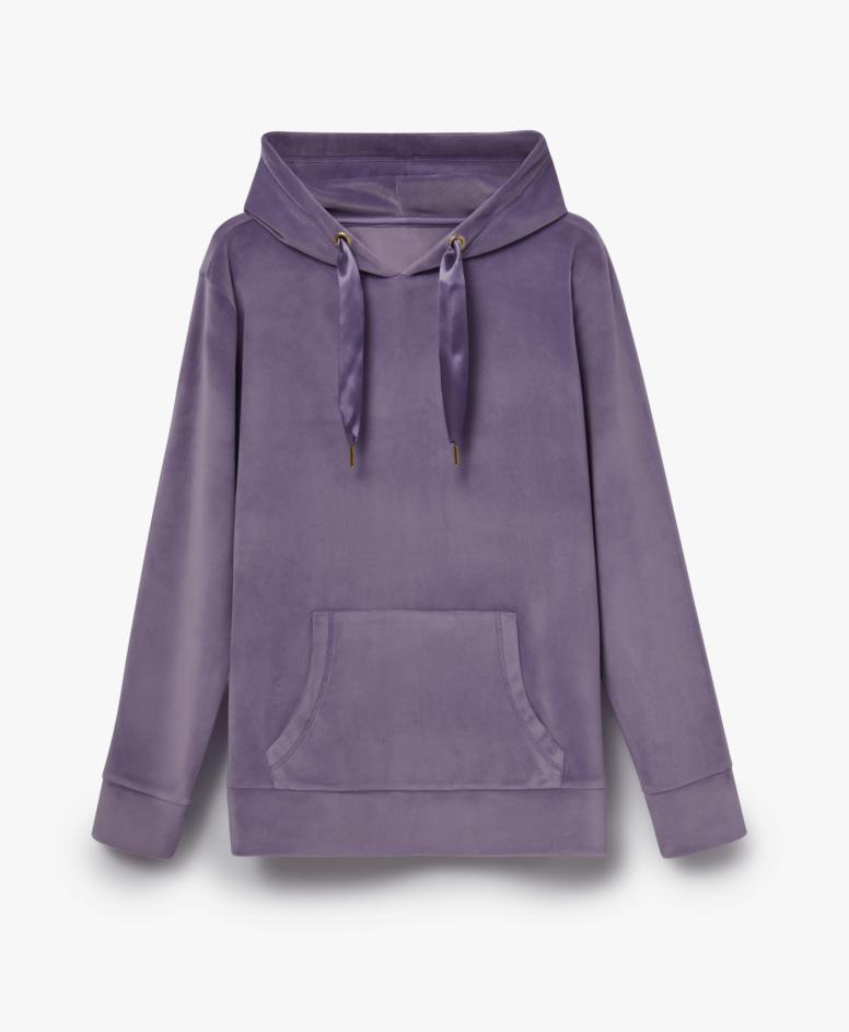 Bluza z kapturem damska kangurka, kolor fioletowy, rozmiary: S-XXL