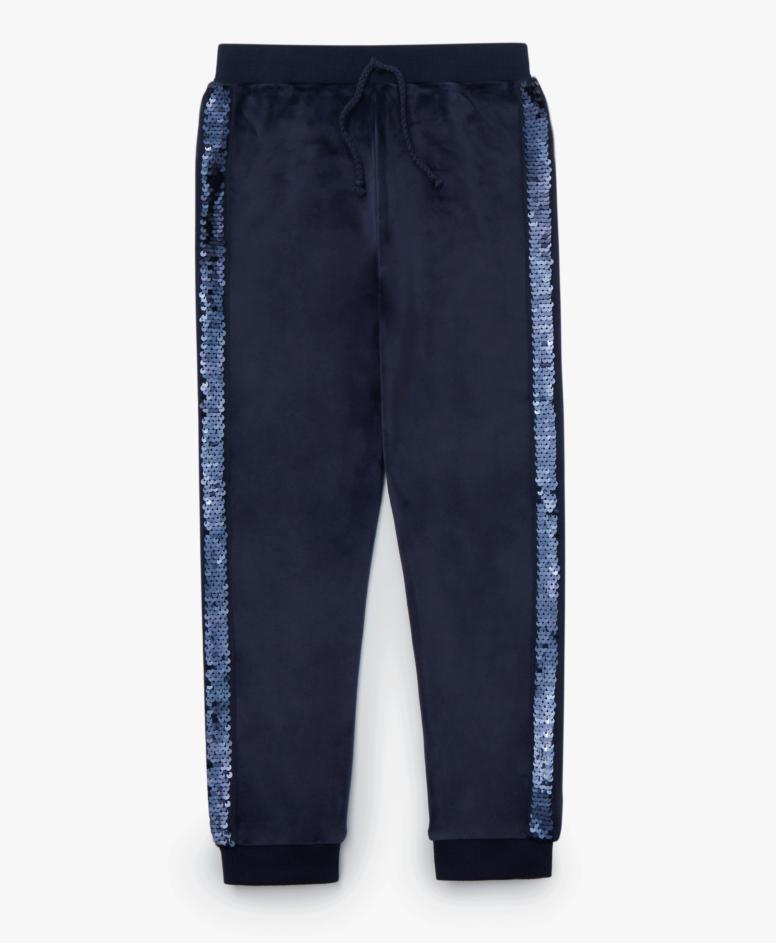Spodnie dresowe dziewczęce, kolor granatowy, rozmiary: 104-134 cm